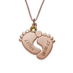 Personalisierte Babyfuß Halskette aus rosévergoldetem Silber Produktfoto