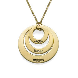 Vergoldete Halskette mit drei Ringen für Mütter Schmuck für Mütter product photo