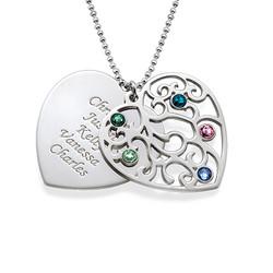Filigrane Herz Stammbaum Halskette Produktfoto