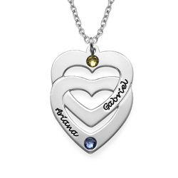 Gravierte vertikale Geburtssteinkette mit Herz in Herz-Anhänger Produktfoto