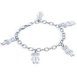 Graviertes Armband mit Kinder Charms in 925er Silber Produktfoto