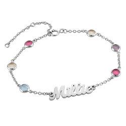 Namensarmband mit mehrfarbigen Steinen aus Silber product photo