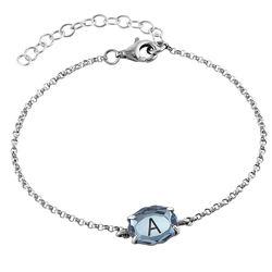 Silbernes Armband mit Gravur und Geburtsstein Produktfoto