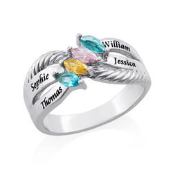 Silberring mit vier Steinchen für Mütter Produktfoto