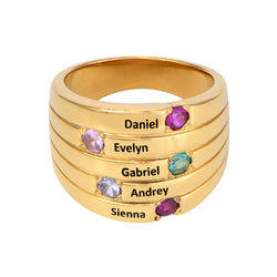Vergoldeter Silberring mit fünf Steinchen für Mütter product photo