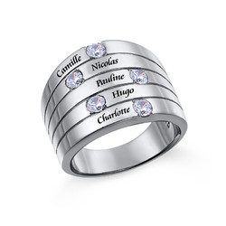 Silberring mit fünf Kristall Steinchen für Mütter Produktfoto