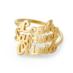 Namensring mit drei Namen und Goldbeschichtung Produktfoto