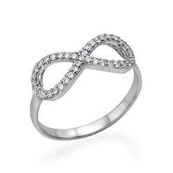 925er Silber Infinity-Unendlich Ring mit Zirkonia Edelsteinen Produktfoto