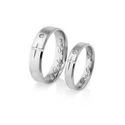 Liebespaar-Ringe mit Partner-Kreuz Produktfoto