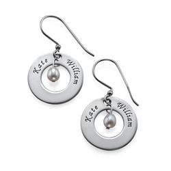 925er Silber Gravierte Ohrringe mit Geburtsperle Produktfoto