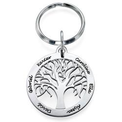 Familienbaum-Schlüsselanhänger aus Silber mit Gravur Produktfoto