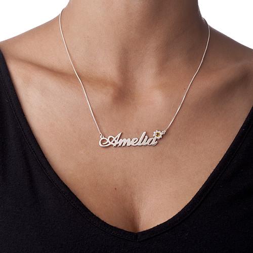 Silber Namenskette mit Blume und Swarovski Kristall - 1