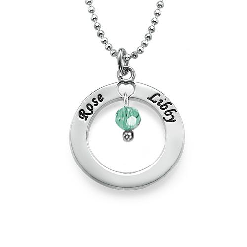 925er Silber gravierte Mutter Kette mit Geburtsstein oder Perle - 1