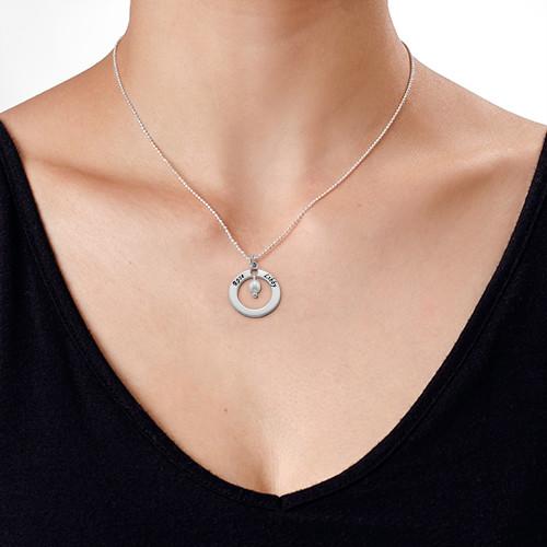 925er Silber gravierte Mutter Kette mit Geburtsstein oder Perle - 2