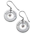 925er Silber Gravierte Ohrringe mit Geburtsperle