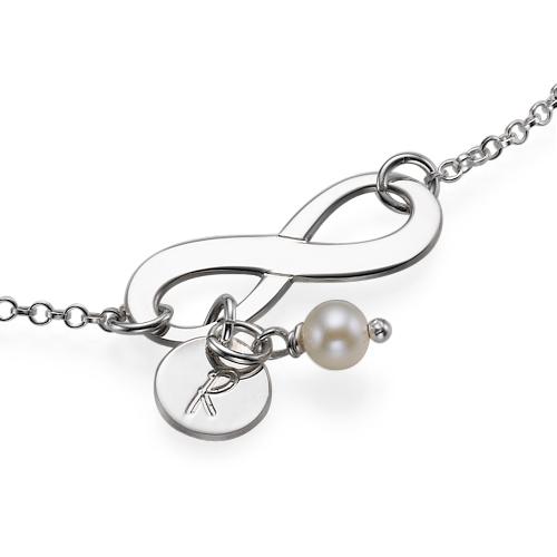 925er Silber Infinity-Armband mit Initiale und Süßwasserperle - 1