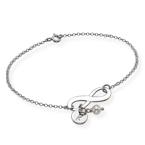 925er Silber Infinity-Armband mit Initiale und Süßwasserperle