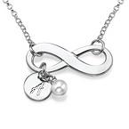 925er Silber Infinity-Halskette mit Initiale und Süßwasserperle