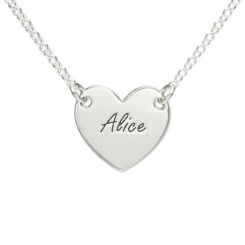 925er Silber gravierte Herzkette