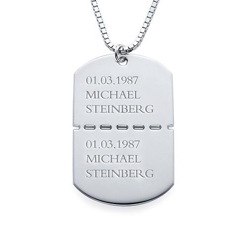Sterling Silber Dog Tag Kette für Herren - 1