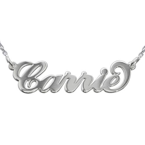 """Doppelstarke 925 Silber Namensketten im """"Carrie"""" Style mit Rollo Kette"""