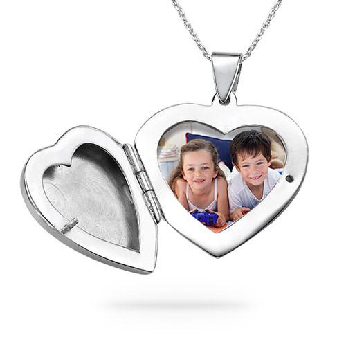 Gravierte 925er Silberkette mit Herz Medaillon - 1