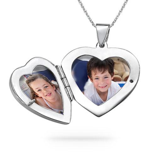 Gravierte 925er Silberkette mit Herz Medaillon - 2