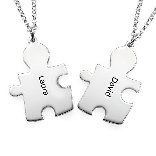 Individualisierte 925er Silber Freundschaft Namenskette im Puzzle Style