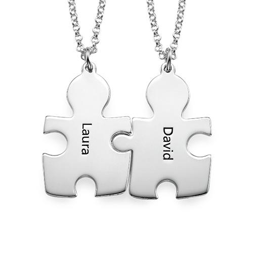 Individualisierte 925er Silber Freundschaft Namenskette im Puzzle Style - 1