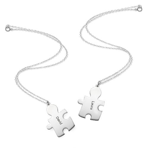 Individualisierte 925er Silber Freundschaft Namenskette im Puzzle Style - 3