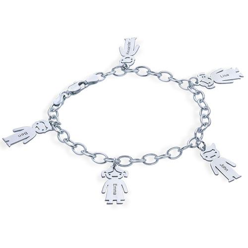 Graviertes Armband mit Kinder Charms in 925er Silber