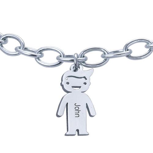 Graviertes Armband mit Kinder Charms in 925er Silber - 2