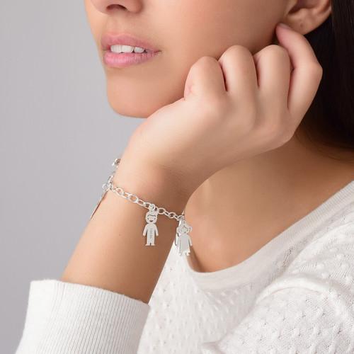 Graviertes Armband mit Kinder Charms in 925er Silber - 3