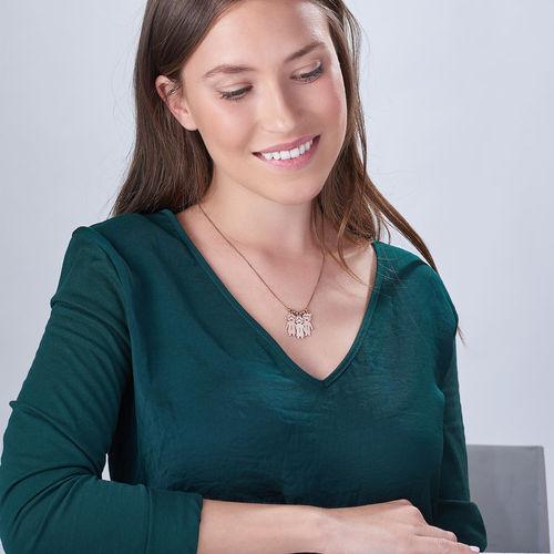 Halskette mit gravierbaren Kinder Charms aus Rosé vergoldetem Silber - 4