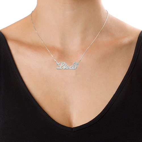 "925 Silber ""Carrie"" Namenskette mit Glitzermuster - 2"