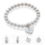 Perlen Armband mit graviertem Anhänger aus 925er Silber
