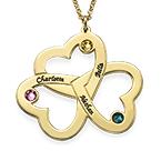 Personalisierte vergoldete Dreifachherzkette