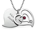 Personalisierte Geburtsstein-Herzkette für Pärchen aus Silber