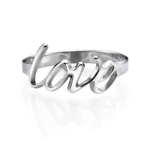 Personalisierter Love Ring in Silber - 1