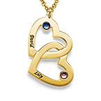 Romantische Herz-an-Herz Halskette mit Geburtssteinen aus 18k vergoldetem Silber
