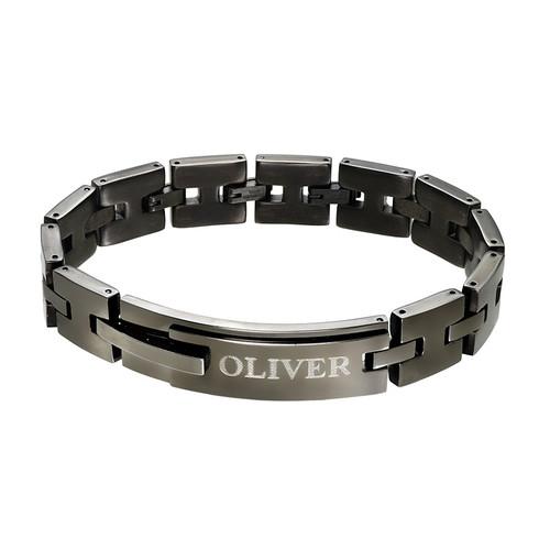 Schwarzes, gravierbares Panzer-Armband mit für Männer