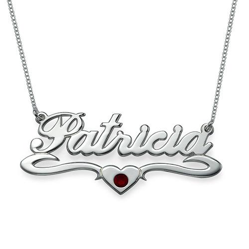 Silber Namenskette mit Herz und Swarovski Kristall