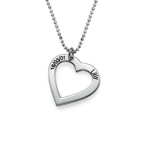 Sterling Silber Herzkette mit Gravur