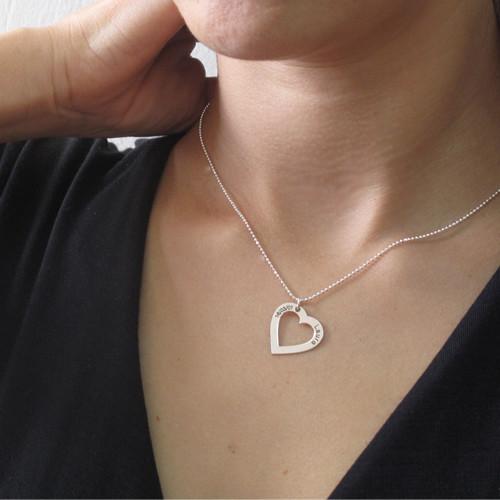 Sterling Silber Herzkette mit Gravur - 2