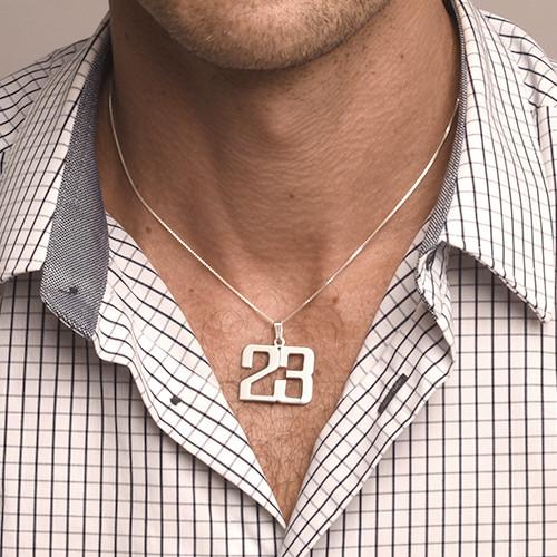 Sterling Silber Zahlen Halskette für Herren - 1