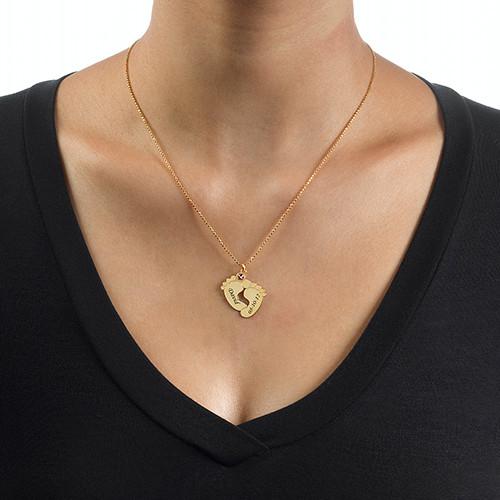 Vergoldete Babyfüße Halskette - 2