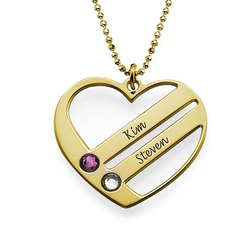 Vergoldete Geburtsstein Herzkette - 1