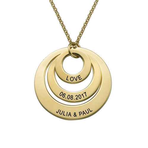 Vergoldete Halskette mit drei Ringen für Mütter Schmuck für Mütter - 2