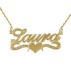 Vergoldete Namenskette aus 925 Silber mit Herz in der Mitte