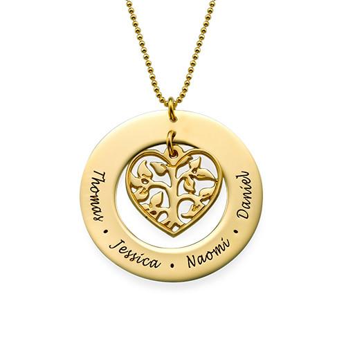 Vergoldete herzförmige Familien Stammbaum Halskette